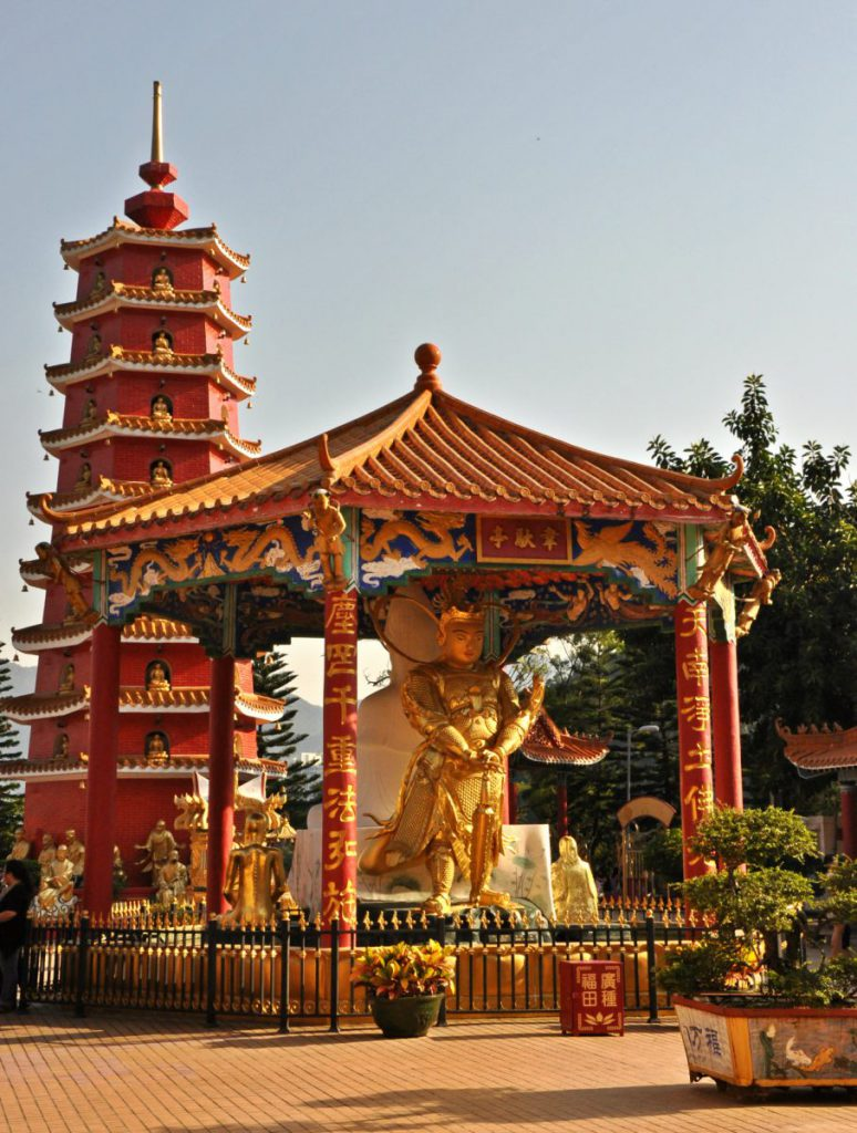10000 Buddhas are located in the New Territories in Hong Kong