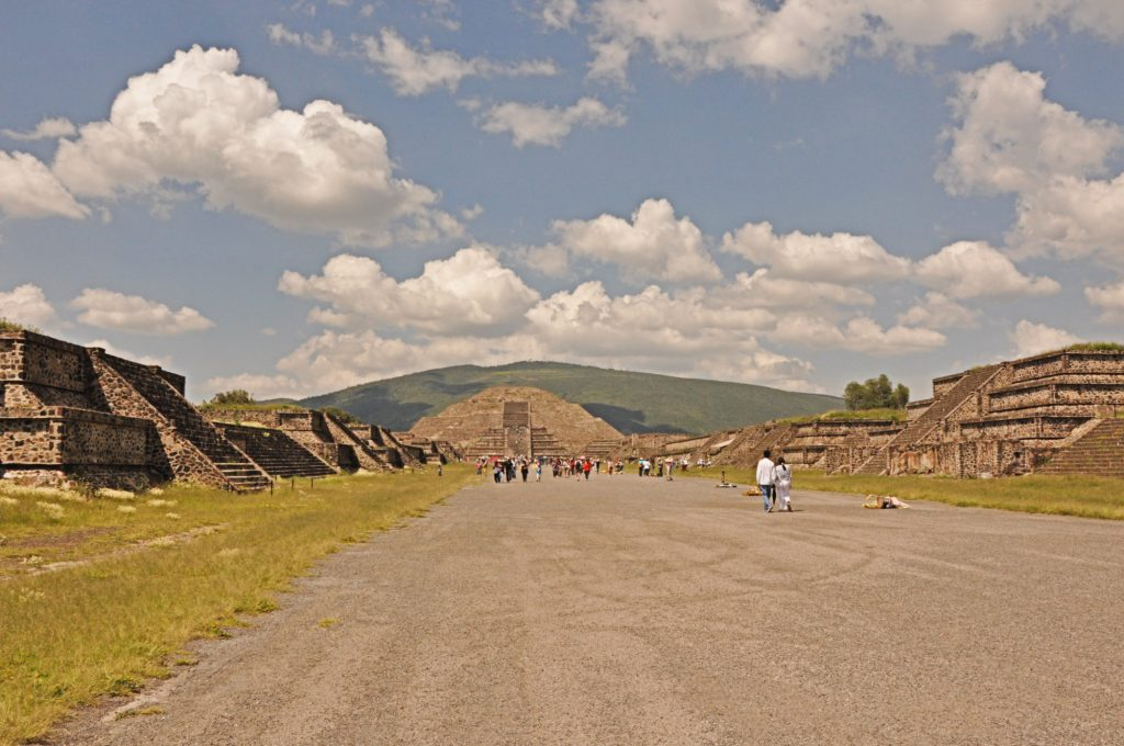 The excavated remains of Teotihuacan seen from the Avenue of the Dead.