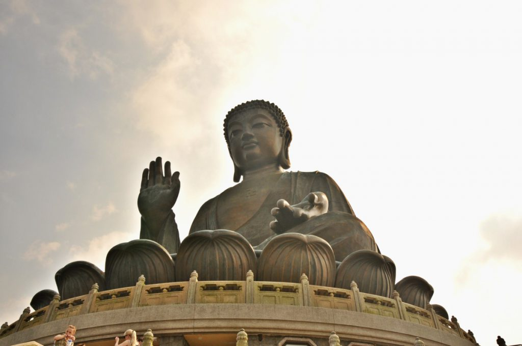 Tian Tan Buddha close up.