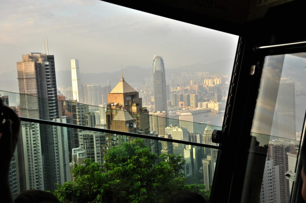 A look while being on the Peak Tram on to Hong Kong