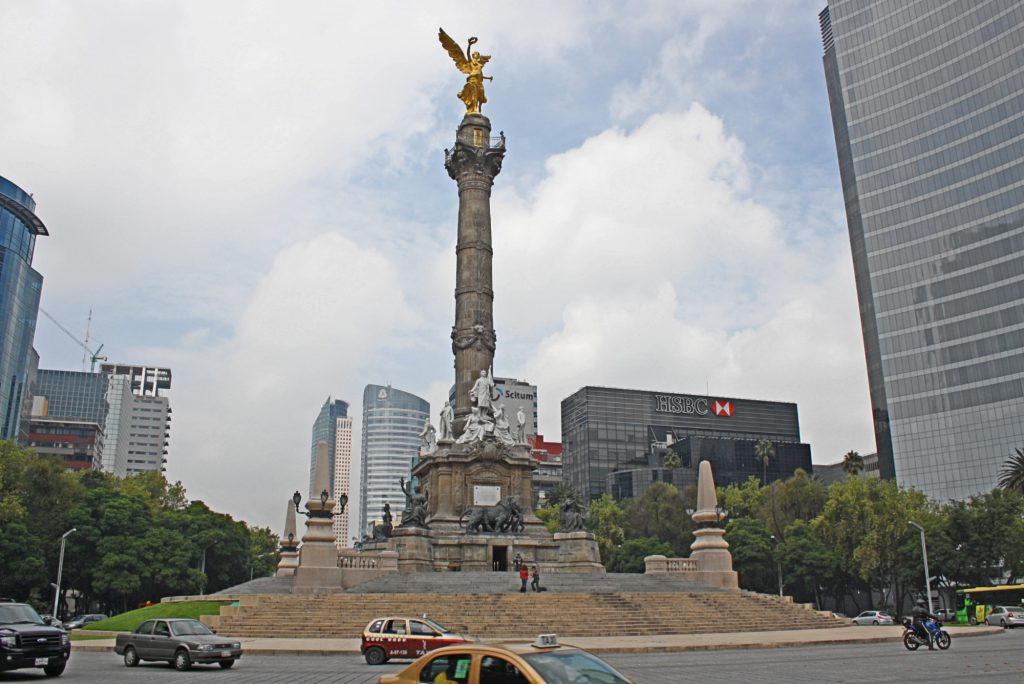 The Monument of Independence in Mexico City.