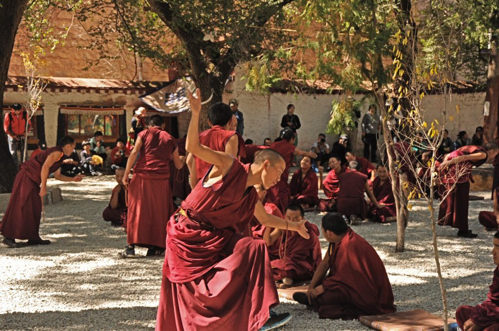 The monks debate at the Sera Monastery