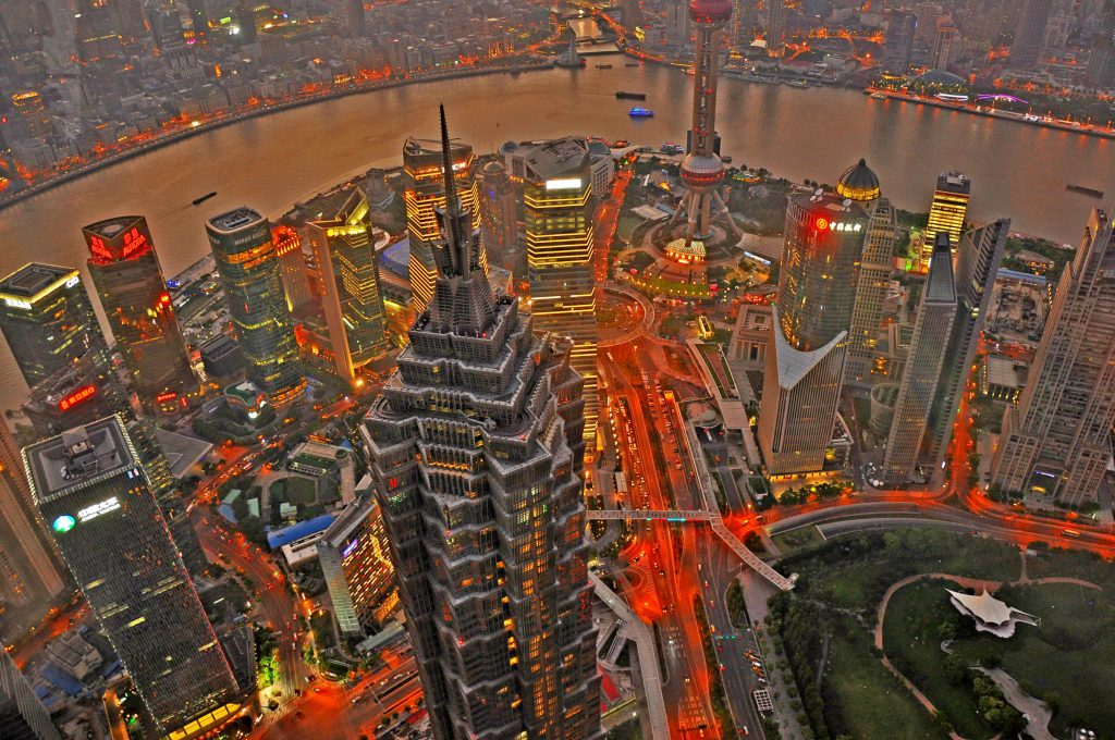 View from the Shanghai World Financial Center at night