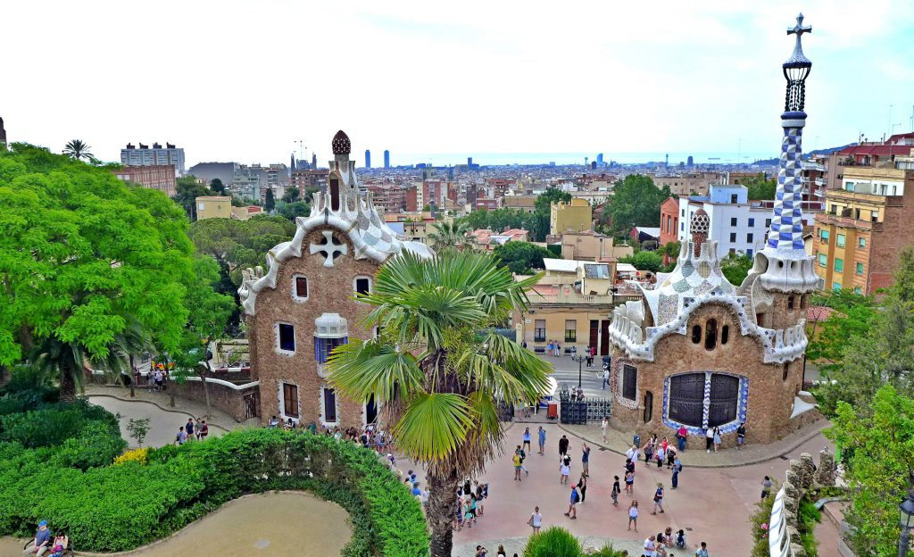 Park Güell in Barcelona. Gaudí lived in one of the two houses.