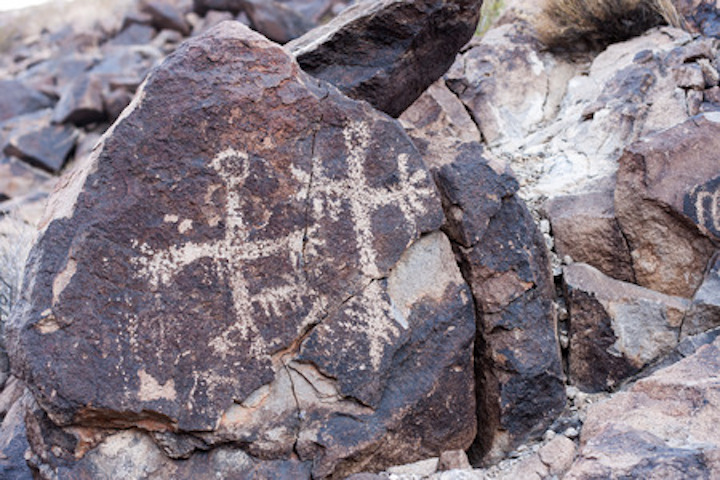 Sloan Canyon close to Las Vegas is known for its petroglyphs rock art plates.